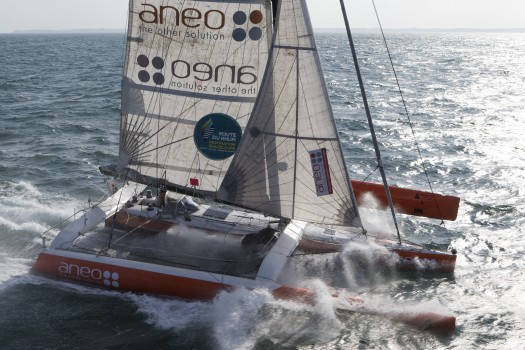 Class Rhum category and trimaran ANEO, french skipper Anne Caseneuve, training off Quiberon, South Brittany, prior to the start of the Route du Rhum Destination Guadeloupe, on october 09, 2014 - Photo Jean Marie Liot / DPPI